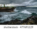 gale on the inland sea. waves... | Shutterstock . vector #477691129