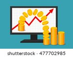 monitor with graph of income... | Shutterstock .eps vector #477702985