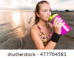 young fit cute sporty girl in... | Shutterstock . vector #477704581