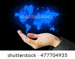 Small photo of hand touch advertising agency technology background