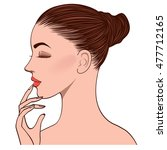 side face of beautiful young...   Shutterstock .eps vector #477712165