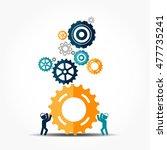 flat designe for teamwork.... | Shutterstock .eps vector #477735241