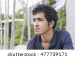 portrait of asian man in blue... | Shutterstock . vector #477739171