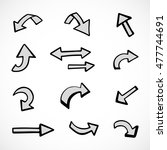 hand drawn arrows  vector set | Shutterstock .eps vector #477744691