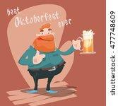 cartoon man hold beer glass mug ... | Shutterstock .eps vector #477748609