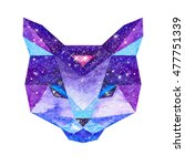 cosmic polygonal cat. hand... | Shutterstock . vector #477751339