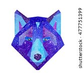 cosmic polygonal wolf. hand... | Shutterstock . vector #477751399