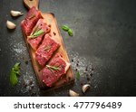 raw meat. raw beef steak on a... | Shutterstock . vector #477796489