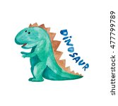 watercolor green dinosaur on... | Shutterstock . vector #477799789