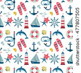 seamless sea pattern. marine... | Shutterstock . vector #477807505