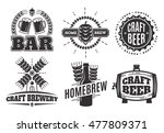 vector vintage craft beer logos.... | Shutterstock .eps vector #477809371