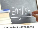 hand writing on a blackboard in ... | Shutterstock . vector #477810559