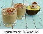 vegan healthy chocolate avocado ... | Shutterstock . vector #477865264