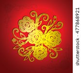 chinese paper cutting  flower... | Shutterstock .eps vector #477868921