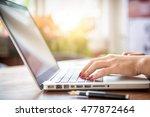 close up business woman hand... | Shutterstock . vector #477872464