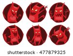 Vector Set Of Round Dark Red...