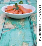 smoked salmon pieces in white... | Shutterstock . vector #477887365