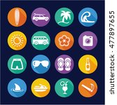 surfing icons flat design circle | Shutterstock .eps vector #477897655