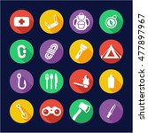 survival kit icons flat design... | Shutterstock .eps vector #477897967