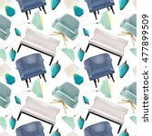 seamless pattern with interior... | Shutterstock .eps vector #477899509