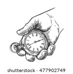 male hand holding antique... | Shutterstock .eps vector #477902749