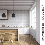 kitchen interior with brick... | Shutterstock . vector #477905674