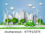 eco friendly car in the city... | Shutterstock .eps vector #477913375