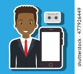 smartphone man app connected   Shutterstock .eps vector #477926449