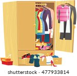messy clothing wardrobe. | Shutterstock .eps vector #477933814