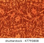 Expensive red crumpled fabric with flower pattern - stock photo