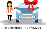 girl with key in hand. new car. ... | Shutterstock .eps vector #477952201