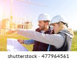 view of two workers working... | Shutterstock . vector #477964561