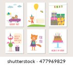 set of birthday greeting cards...   Shutterstock .eps vector #477969829