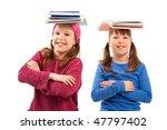 smiling schoolgirls looking at... | Shutterstock . vector #47797402