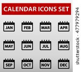 calendar months icons set...