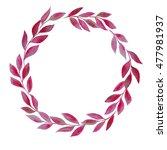watercolor wreath of pink leaves | Shutterstock . vector #477981937