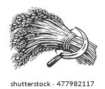 sheaf of wheat and sickle... | Shutterstock .eps vector #477982117