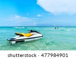 blue sea and a jet ski floating ... | Shutterstock . vector #477984901