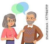 old man and old women talking.... | Shutterstock .eps vector #477986959