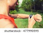 runner on mountain trail... | Shutterstock . vector #477990595