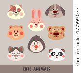 set of cute animal faces... | Shutterstock .eps vector #477992077
