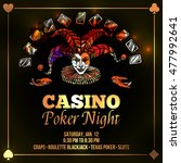 joker poster with casino and... | Shutterstock . vector #477992641