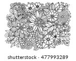 floral doodle pattern in black... | Shutterstock .eps vector #477993289