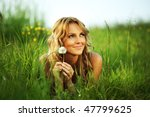 girl on green field | Shutterstock . vector #47799625