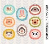set of  cute animal faces in... | Shutterstock .eps vector #477999085