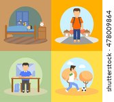 pupil's school daily routines... | Shutterstock .eps vector #478009864