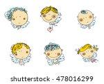 hand drawn cute cartoon vector... | Shutterstock .eps vector #478016299