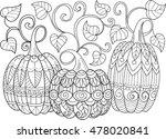 three doodle pumpkins sketch ... | Shutterstock .eps vector #478020841