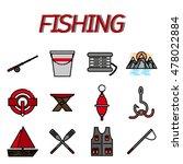 fishing flat icon set   Shutterstock .eps vector #478022884