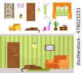 set detailed interior hallway... | Shutterstock . vector #478025251